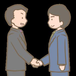 2人で握手